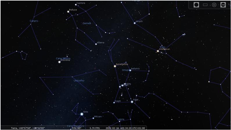 La supergigante rossa Betelgeuse nella costellazione di Orione