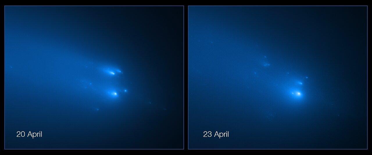 La cometa C2019Y4 ATLAS in frantumi ripresa dal telescopio spaziale Hubble- credit NASA.
