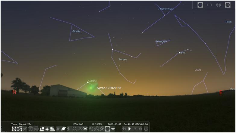 Posizione della cometa Swan il 2 giugno 2020 .