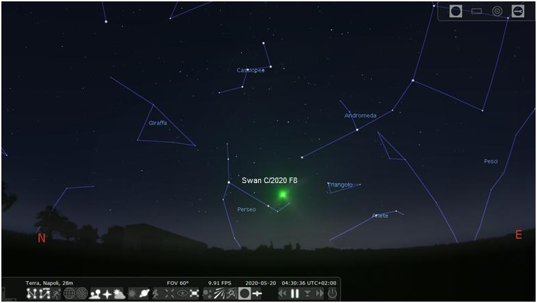 Posizione della cometa Swan il 20 maggio 2020