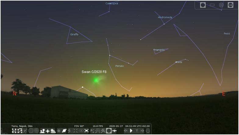 Posizione della cometa Swan il 27 maggio 2020