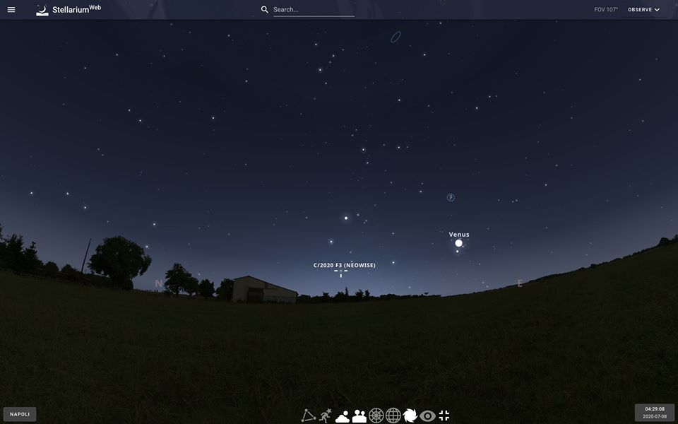 Mappa per l'osservazione di C2020 F3 Neowise nel cielo prima dell'alba .